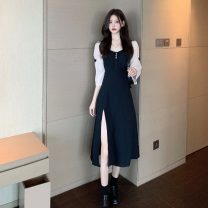 Dress Summer 2021 black S,M,L longuette singleton  three quarter sleeve commute square neck Others 18-24 years old Other / other Korean version 0417L 30% and below other