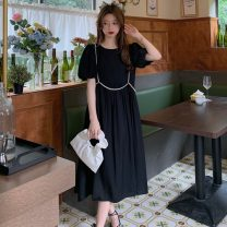 Dress Summer 2021 Khaki, black Average size Mid length dress singleton  Short sleeve commute Crew neck High waist Solid color Socket A-line skirt puff sleeve 18-24 years old Type A Other / other Korean version W0406 30% and below other