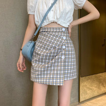 skirt Summer 2021 S,M,L Blue, yellow Short skirt commute High waist Irregular lattice Type A 18-24 years old 0412L 30% and below other Other / other Korean version