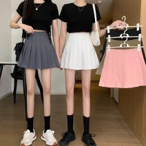 skirt Summer 2021 S,M,L,XL Khaki, grey, white, black, pink Short skirt commute High waist Pleated skirt Solid color Type A 18-24 years old 0414x 31% (inclusive) - 50% (inclusive) other Other / other Korean version