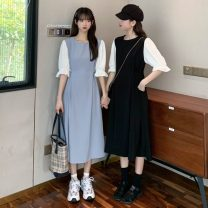 Dress Spring 2021 White, blue, black Average size Mid length dress singleton  Short sleeve commute Crew neck High waist Socket A-line skirt puff sleeve 18-24 years old Type A Other / other Korean version W0403 30% and below other