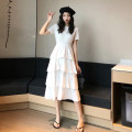Dress Summer 2021 White, black Average size Mid length dress singleton  Short sleeve commute Crew neck High waist Solid color Socket Cake skirt routine Others 18-24 years old Type A Other / other Korean version 0411Y 31% (inclusive) - 50% (inclusive) other