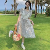 Dress Summer 2021 Blue flowers, yellow flowers Average size Mid length dress Two piece set Short sleeve commute V-neck High waist Broken flowers other A-line skirt puff sleeve 18-24 years old Type A Other / other Korean version W0405 30% and below other