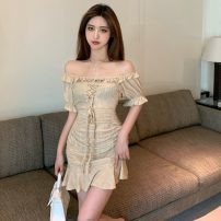 Dress Summer 2021 Picture color S,M,L Short skirt singleton  Short sleeve commute One word collar High waist Solid color Socket One pace skirt routine 18-24 years old Type A Other / other Korean version W0415 30% and below other