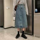 skirt Spring 2021 S,M,L,XL Dark blue, black, retro blue Mid length dress commute High waist Denim skirt Solid color Type A 18-24 years old 0406@ 30% and below other Old, button Korean version