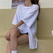 T-shirt Gray, white, purple, blue, black Average size Spring 2021 Short sleeve Crew neck Straight cylinder Medium length routine commute other 31% (inclusive) - 50% (inclusive) 18-24 years old Korean version Other / other 0315Y