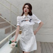 Dress Summer 2021 White dress, blue dress, blue coat, white coat M. L, average size Short skirt singleton  Short sleeve commute Polo collar High waist Solid color Single breasted A-line skirt puff sleeve 18-24 years old Type A Other / other Korean version 0417Y 31% (inclusive) - 50% (inclusive)