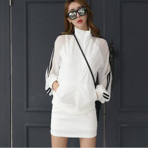Sports suit White [suit] ASD Other / other female L,M,S,XL Long sleeves stand collar shorts Cardigan Spring 2021 Sports & Leisure nylon