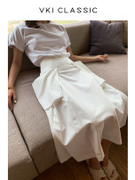 skirt Summer 2020 XS,S,M,L Mid length dress Versatile High waist Pleated skirt Solid color Type A 25-29 years old 30% and below other cotton