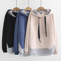 Women's large Winter 2020, autumn 2020 Black, blue, apricot Large XL, large XXL, large XXL, large XXXXL, large XXXXL Sweater / sweater singleton  commute easy thick Socket Long sleeves Solid color Korean version Hood routine cotton Three dimensional cutting routine 25-29 years old Cotton 81% - 90%