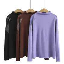 Women's large Spring 2021 Black, purple, coffee Large XL, large XXL, large XXL, large XXXXL, large XXXXL T-shirt singleton  commute easy moderate Socket Long sleeves Solid color Korean version High collar routine cotton Three dimensional cutting routine sc----A53 25-29 years old