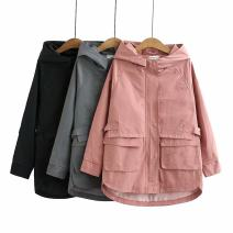Women's large Spring 2021 Grey, black, pink Large XL, large XXL, large XXL, large XXXXL, large XXXXL Windbreaker singleton  commute easy moderate Cardigan Long sleeves Solid color Korean version Hood Medium length cotton Three dimensional cutting routine qyx ----- one thousand and six 25-29 years old