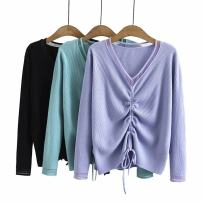 Women's large Spring 2021 Black, light green, light blue Large XL, large XXL, large XXL Knitwear / cardigan singleton  commute Self cultivation moderate Socket Long sleeves Solid color Korean version V-neck routine cotton Three dimensional cutting routine kss----6288 25-29 years old Button