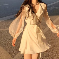 Dress Summer 2021 White, black S,M,L,XL Mid length dress singleton  Long sleeves commute V-neck High waist Solid color Socket A-line skirt puff sleeve Others Type A 31% (inclusive) - 50% (inclusive) Chiffon other
