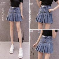 skirt Summer 2021 S,M,L,XL,2XL Single T-shirt, skirt, T-shirt skirt suit Short skirt commute High waist Pleated skirt Solid color Type A 18-24 years old CY555 51% (inclusive) - 70% (inclusive) Denim cotton Korean version