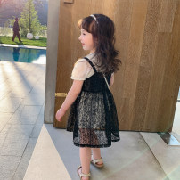 Dress black female Other / other 90cm,100cm,110cm,120cm,130cm Other 100% summer Korean version Short sleeve other cotton A-line skirt DD LACE SLING 2-piece skirt 7 years old, 12 months old, 3 years old, 6 years old, 18 months old, 9 months old, 6 months old, 2 years old, 5 years old, 4 years old