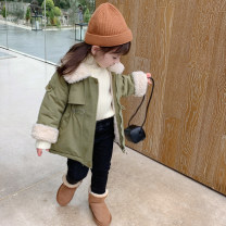 Plain coat Other / other female 90cm,100cm,110cm,120cm,130cm Green, khaki, yellow winter Korean version Zipper shirt There are models in the real shooting Plush nothing Solid color cotton other DD tricolor plush cotton coat