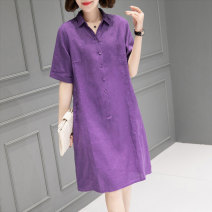 Dress Summer 2021 Purple orange Average size Mid length dress singleton  Short sleeve commute Polo collar Loose waist Solid color Socket other routine Others 40-49 years old Type H Han Sheba Li Korean version Button 2D2129B More than 95% hemp Flax 100% Pure e-commerce (online only)