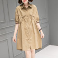 Dress Summer 2021 Black Khaki M L Mid length dress singleton  Short sleeve commute other Loose waist Solid color Single breasted other routine Others 40-49 years old Type H Han Sheba Li Korean version Pocket button 5J907B 51% (inclusive) - 70% (inclusive) other cotton Cotton 55% polyester 45%