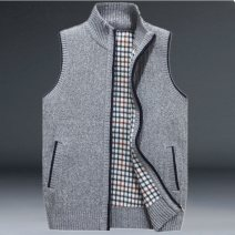 Vest / vest Fashion City Jeep chariot / Jeep Chariot XXL XXXL M L XL Light grey knitting wool fashion waistcoat lake blue knitting wool fashion waistcoat red knitting wool fashion waistcoat grey knitting wool fashion waistcoat Home standard Woolen vest thick spring stand collar middle age 2019 zipper