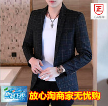 man 's suit Black, blue, red Tagkita / she and others Youth fashion routine XL,L,M,XXL,XXXL,XXXXL Self cultivation A single breasted button Other leisure Back middle slit teenagers Long sleeves autumn routine Exquisite Korean style Straight hem lattice 2020 Digging bags with lids other