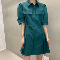 Women's large Summer 2021 White, apricot, pine green Average size Dress singleton  commute easy moderate Short sleeve Korean version routine FS109 96% and above Short skirt