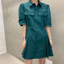 Women's large Summer 2021 White, apricot, pine green Average size Dress singleton  commute easy moderate Short sleeve Korean version routine FS109 96% and above Short skirt
