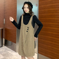 Dress Winter of 2019 Khaki red M L XL XXL Mid length dress Fake two pieces Long sleeves commute High collar Loose waist lattice Socket A-line skirt routine straps 18-24 years old Korean version Splicing More than 95% Wool other Other 100% Pure e-commerce (online only)