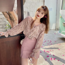 shirt Floral shirt, pink skirt S. M, average size Summer 2021 other 30% and below Long sleeves Sweet Regular V-neck Single row multi button pagoda sleeve Broken flowers 18-24 years old college
