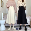skirt Spring 2021 S,M,L Black, beige Mid length dress commute High waist A-line skirt Solid color Type A 18-24 years old 30% and below other Korean version