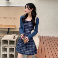Dress Summer 2021 S. M, average size Short skirt singleton  Sleeveless commute High waist lattice Socket A-line skirt camisole 18-24 years old Type A Retro 30% and below other