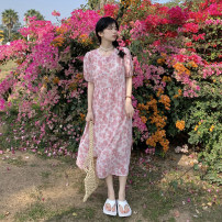 Dress Summer 2021 Purple, pink Average size longuette singleton  Long sleeves Sweet Crew neck High waist Broken flowers Socket A-line skirt puff sleeve 18-24 years old Type A 30% and below other college