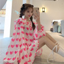 Dress Summer 2021 Black, pink Average size Mid length dress singleton  Long sleeves Sweet Doll Collar Loose waist Socket other routine 18-24 years old Type H Lace up, printed 30% and below college