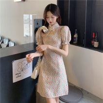 Dress Summer 2021 Dress S,M,L Short skirt singleton  Short sleeve commute stand collar High waist Decor Socket A-line skirt routine 18-24 years old Type A Retro printing 30% and below other