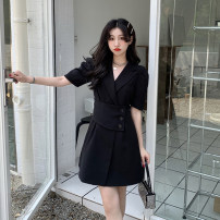 Dress Summer 2021 Black, white S, M Short skirt singleton  Short sleeve commute tailored collar High waist Solid color Single breasted A-line skirt routine 18-24 years old Type A Korean version Splicing 30% and below other