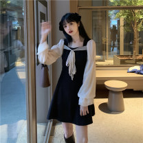 Dress Spring 2021 Graph color S,M,L Short skirt singleton  Long sleeves commute square neck High waist Solid color Socket A-line skirt puff sleeve 18-24 years old Type A Retro Bowknot, stitching, mesh 30% and below other