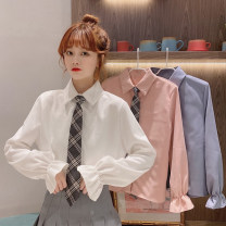 shirt Average size Spring 2021 other 30% and below Long sleeves commute Regular Polo collar Single row multi button pagoda sleeve other 18-24 years old Korean version