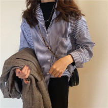 shirt Blue, white Average size Spring 2021 other 30% and below Long sleeves commute Medium length Polo collar Single row multi button routine stripe 18-24 years old Korean version Pocket, button