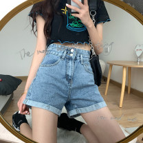 Jeans Spring 2021 Black, blue S,M,L,XL shorts High waist Wide legged trousers routine 18-24 years old Wash, flanging, zipper, button other 30% and below