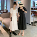 Dress Summer 2021 White, black Average size Mid length dress singleton  Short sleeve commute square neck High waist Solid color Socket A-line skirt puff sleeve 18-24 years old Type A Korean version 30% and below other