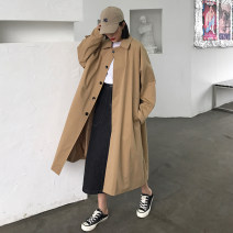 Windbreaker Autumn of 2019 Average size Khaki, black Long sleeves routine Medium length commute Single breasted Polo collar routine Solid color Bat type Retro 18-24 years old Pocket, button 30% and below other