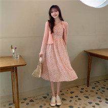 Dress Summer 2021 Green cardigan, blue-green floral skirt, pink cardigan, pink floral skirt Average size Mid length dress singleton  Sleeveless commute High waist Socket A-line skirt camisole 18-24 years old Type A Korean version 30% and below other