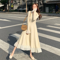 Dress Spring 2021 Black long skirt, black short skirt, beibai long skirt, beibai short skirt S, M longuette singleton  Long sleeves commute V-neck High waist Solid color Ruffle Skirt pagoda sleeve Others 18-24 years old Type A Korean version Auricularia auricula, stitching, wave, button 30% and below