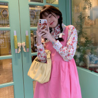 Dress Spring 2021 Pink floral, blue floral, white dress, rose dress Average size Mid length dress Sleeveless Sweet Loose waist Broken flowers other A-line skirt 18-24 years old Type A 30% and below other other college