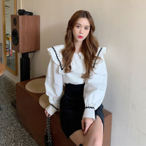 shirt White, black Average size Spring 2021 other 30% and below Long sleeves commute Medium length Doll Collar Single row multi button routine 18-24 years old Korean version Splicing