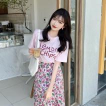 skirt Summer 2021 Average size Pink T-shirt, floral skirt Mid length dress commute High waist A-line skirt Broken flowers Type A 18-24 years old 30% and below Korean version