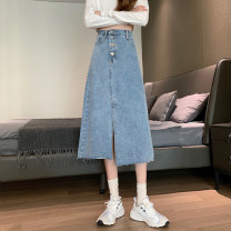 skirt Spring 2021 S,M,L,XL Light blue, black Mid length dress commute High waist A-line skirt Solid color Type A 18-24 years old 30% and below other Asymmetry, button Korean version