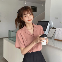 shirt Apricot, white, light green, black, yellow, blue, dark green, light coffee, brown, pink, dark coffee Average size Spring 2021 other 30% and below Short sleeve commute Regular tailored collar Single row multi button routine Solid color 18-24 years old Korean version Button