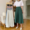 skirt Summer 2021 M, L White, black, yellow, dark green, blue, pink Mid length dress commute High waist Pleated skirt Solid color Type A 18-24 years old More than 95% other polyester fiber fold Retro