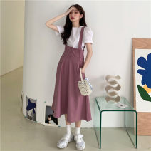 Dress Summer 2021 Little purple skirt, little black skirt, white coat Average size Mid length dress singleton  Sleeveless commute High waist Solid color Three buttons A-line skirt straps 18-24 years old Type A Korean version Pocket, button 30% and below other